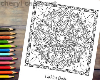 Printable Coloring Page - Quilt: Dahlia - Cheryl Casey Art - Digistamp, Digital Stamp
