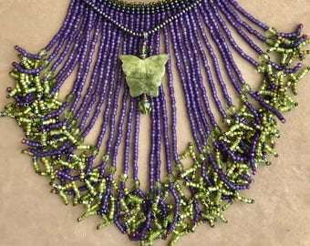 Green Butterfly and Purple Beaded Fringe Necklace