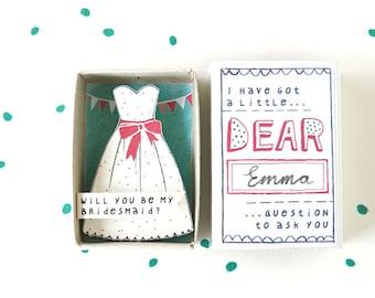 Die Brautjungfer-Box - werden Sie meine Brautjungfer? -mit festlichen Kleid Illustration