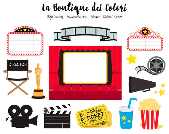 Movie theater clip art cute vector graphics png film - Clipart cinema gratuit ...