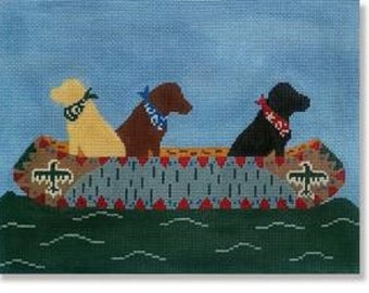 Needlepoint Handpainted LAURA MEGROZ Dog White Water Labs 12x9 -Free US Shipping!!!