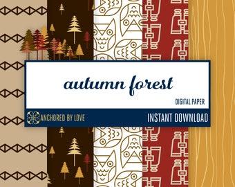 Autumn digital paper | Fall digital scrapbook paper | Forest digital paper | Wood grain digital paper | Camping Digital | Owl digital paper