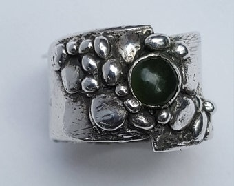 Handcrafted Wide Band Silver Ring with Jade Cabochon- Size 6-1/2