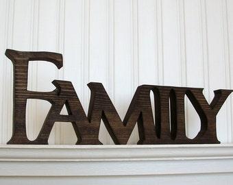FAMILY Wood Sign, Wood Sign, FAMILY Word Sign. Stained FAMILY Letter Sign