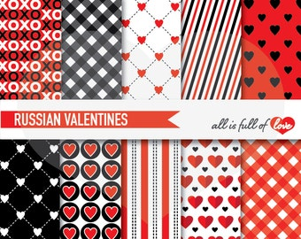 VALENTINES Patterns LOVE Digital Paper Red Black Scrapbooking Paper Heart Backgrounds 12x12 Valentines Paper valentines diy card