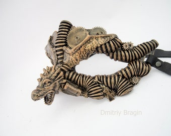 steampunk dragon burning man techno phantom masquerade mask