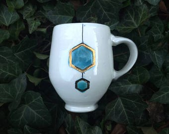 Double Blue and Gold Hexagon on Round White Mug