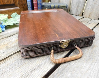 Vintage Wood and Wicker Slant Top Traveling Writing Art Desk - Lap Desk
