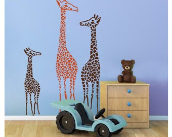 Large Giraffes Family Removable Wall Stickers Kids Baby Wall Decals Art Mural