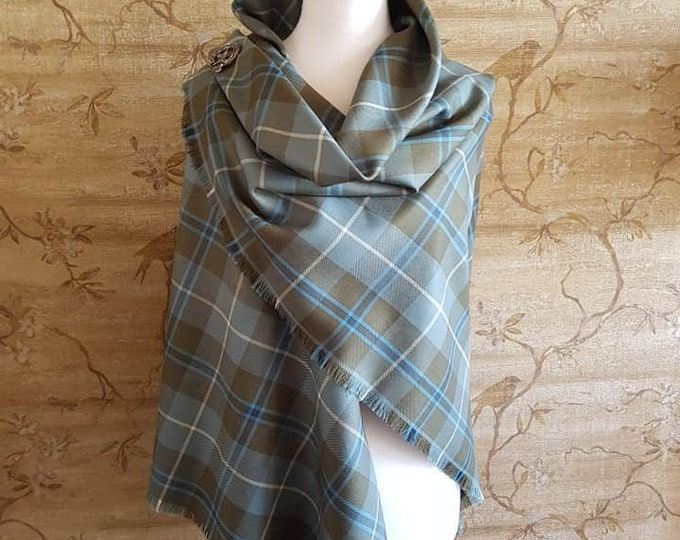 Featured listing image: Weathered Douglas Outlandish Shawl with Optional Clan Fraser Pin Selection *FREE SHIPPING*