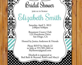 Bridal Shower Invite Black White Damask Turquoise Invitation Black & White Printable 5x7 Digital JPG FIle (209)