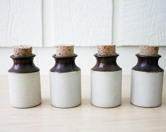 Vintage set of ceramic jars with cork lids 1970 environmental ceramics inc. Made in Japan