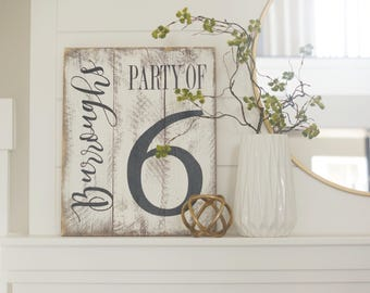 Name sign, family number, pallet sign, rustic last name sign, wood name sign, party of family sign, number sign, whitewashed sign, last name