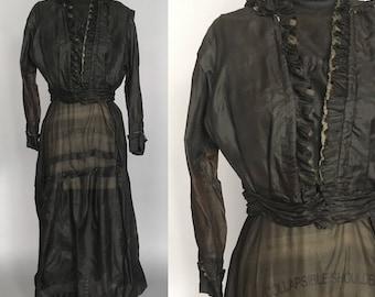 Edwardian silk dress black