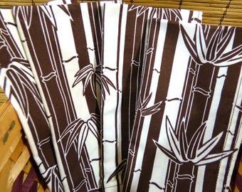 Set of Four Bamboo Print Cotton Napkins