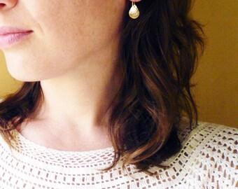 Hammered Gold Teardrop Earrings in 14K Gold Filled - Simple Geometric Earrings, Gold Filled Hammered Tear Drop Earrings