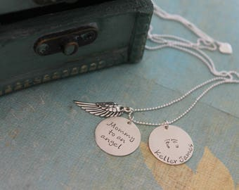 Mommy to an angel, Personalized Child Loss Necklace, Angel Baby Jewelry, Infant Loss Necklace, Remembrance Jewelry, Miscarriage Loss Jewelry