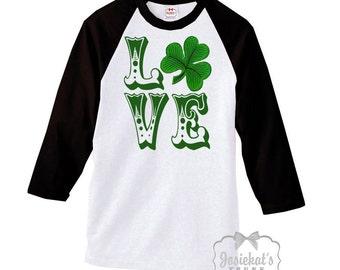 St Patrick Day - Womens Irish Shirt - Love Shirt - Shamrock Baseball Black White Shirt - Irish Tee - Junior Custom Size  XS S M L Xl 2XL 3XL