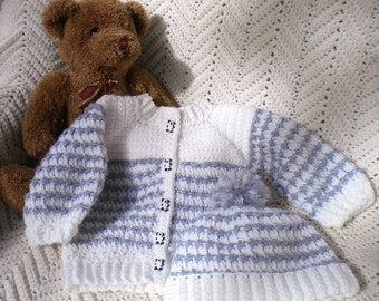 Crochet Infant Boy Sweater Hat Set White & Flannel Grey 6 12 mo