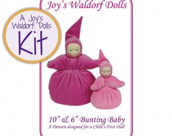 """Joy's Waldorf Dolls Kit 10"""" & 6"""" Bunting Baby Doll Making Kit"""