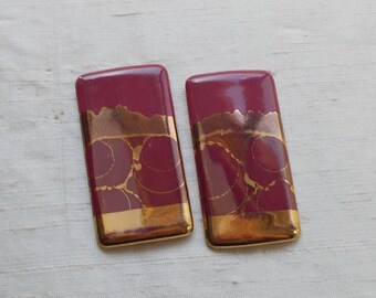 SUMMER SALE!  Large 1980s Rectangular Burgundy and Gold Ceramic Post Earrings