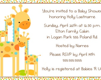 Baby Giraffes Shower Invitation
