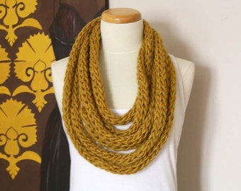 Infinity rope scarf in mustard