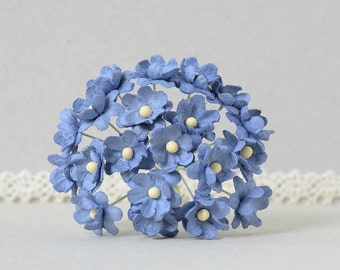 15  mm / 10   Blue   Mulberry Paper  Flowers