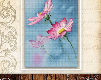 Cosmos cross stitch pattern floral cross stitch spring flower cross stitch bouquet cross stitch pink flower cross stitch plant cross stitch