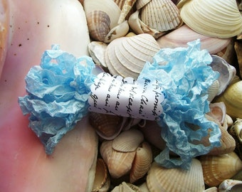 Vintage- Seam Binding- Crinkled-Baby Blue-Silky-Shabby
