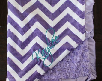 Minky Blanket, Blanket with Embroidery, Blanket with Name Engraved purple chevron Baby Girl, Baby Blanket, purple and turquoise, lavender