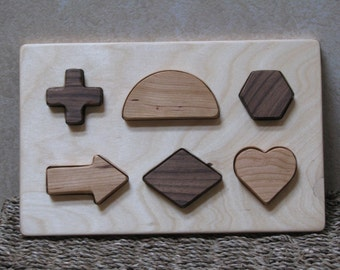 Developmental Shape Puzzle #2, wooden, easy for little hands to grip and learn.