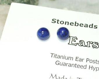 Rich Deep Blue Lapis Lazuli Titanium Ear Posts Clutches Studs Earrings Earings 6mm Round Hypo Allergenic