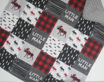 baby boy quilt -minky baby quilt- red baby quilt- woodland baby bedding- baby boy bedding- plaid baby quilt- moose baby quilt- baby blanket
