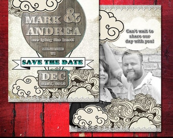 Hot Air Balloon Save the Date Invitation, Rustic Save the date invitation with or without photo, Printable Wedding stationery, Save the date