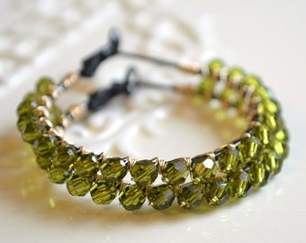 Olive Green Earrings, Hoops, Genuine Swarovski Crystal Beads, Wire Wrapped, Olivine, Mixed Metal Jewelry, Black Gunmetal and Gold Wire