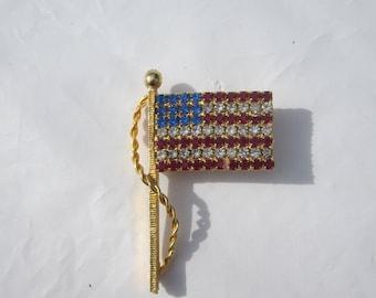 Vintage Rhinestone Flag Pin