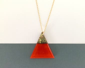 Geometric Glass Gem | Triangle Pendant Necklace | Pimento Red • Gold