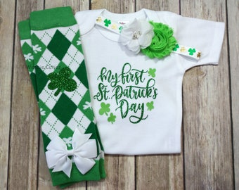 Baby Girl 1st St Patricks Day outfit, Baby Girl St Paddys Day Outfit, Newborn St Patricks day Outfit, Baby's Girl Clothes, Baby Girl Outfit