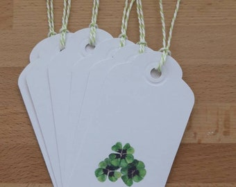 Pack of 6 gift tags with four leafed clovers