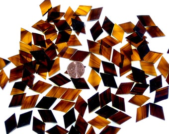 Brown and Gold Streaky Mosaic Tile Diamonds