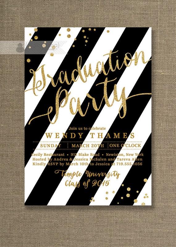 Gold black and white graduation party invitation glitter filmwisefo