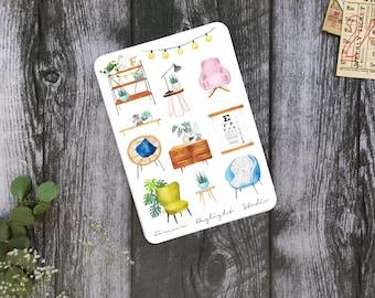 "Planner Stickers ""Love my Home""   Interior Stickers   Scandinavian   Swedish Design   Watercolor Stickers   Lifestyle   Furniture"