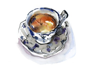 Kitchen Art, Tea, Chai - print from an original watercolor sketch