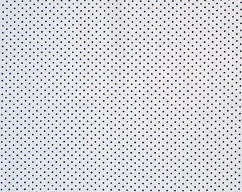 Navy Blue on White Small Polka Dot Fabric, Blue and White Pure Cotton Dot Fabric for patchwork, quilting and crafts