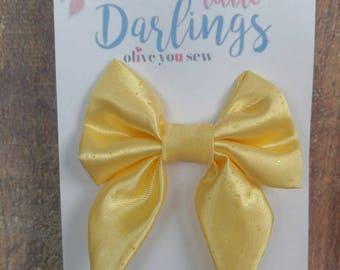SALE! 30% OFF**Sailor Hair bow, Toddler hair bow, Baby hair bow, Teen hair bow, Girl Hair bow- yellow