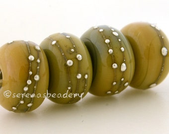 Fine Silver Wire Dots STONE GROUND yellow - Handmade Lampwork Glass Beads - taneres
