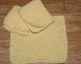 Set of 3 Yellow Color  Crochet Dishcloths  All Cotton