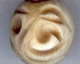 14mm Deeply Carved Tea Dyed Bone Round Beads 2pcs