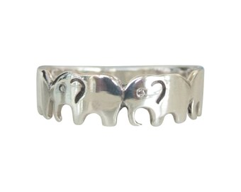 Sterling Silver Ring, Silver Elephant Ring, Silver Animal Ring, Silver Band Ring, Silver Stacking Ring